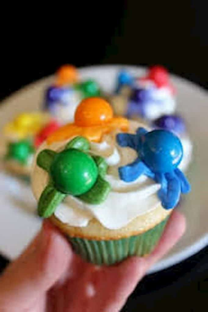 cupcake at paintball birthday party